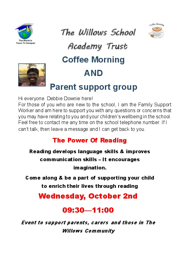 Coffee morning  poster  Weds 02.10.19 on Power of reading